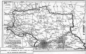 Карта Украины, которой пользовались на Парижской мирной конференции 1919 г.