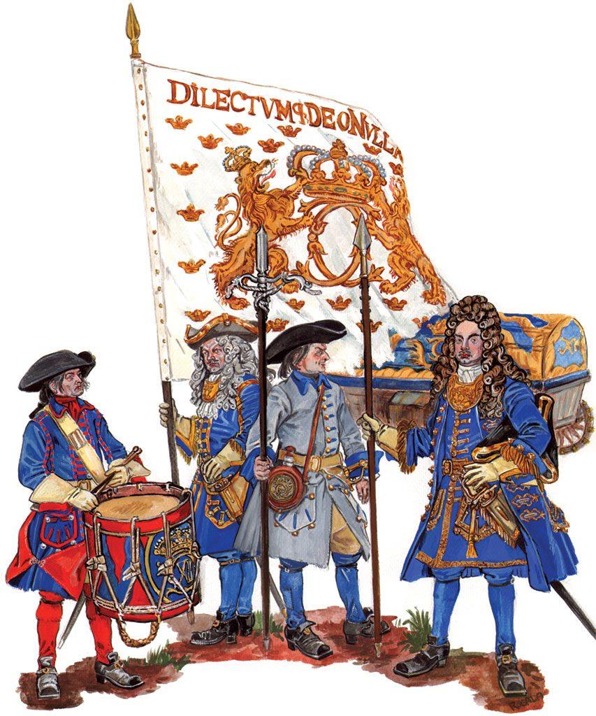 «Шведская пехота под Полтавой» (реконструкция С.Шаменкова). Офицер держит белое королевскоей «лейб-знамя».