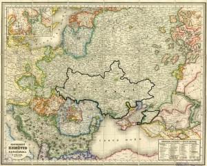 Карта П.Шафарика с выделенным ареалом проживания малорусов
