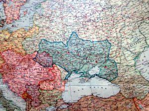 Украина на карте европы, изданной Украинским комитетом в Швейцарии (1916)
