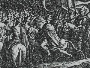 Козаки корпусу Ждановича форсують Вислу під Завихостом. 1657. Гравюра В.Свідде