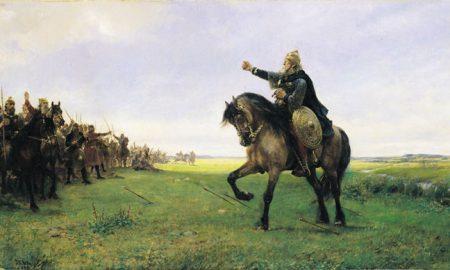 Готский вождь вызывает гуннов на бой (полотно П. Н. Арбо, 1886)