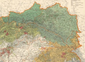 """Фрагмент """"Этнографической карты Австрийской монархии"""" К.Чергина, 1855. Упоминается в конституции ЗУНР как основание ее границ"""
