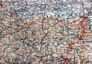 Фрагмент карті Украині 1918 С.Рудницкого