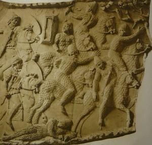 Римские воині преследуют сарматских всадникоов. Колонна Траяна, Рим.