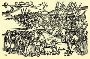 Турецьке військо, з полоненими та здобичю, взятими у Семиградді (Угорщина). Угорський дереворит кінця XV століття