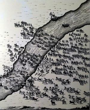 Татари переправляють ясир через ріку. Дереворит XVII століття