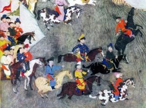 Татарські вершники форсують річку. Фрагмент османської мініатюри XVI століття