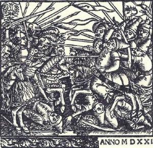 Бій поляків з татарами. Ілюстрація з титульної сторінки книги «Опис Сарматії Азійської та Європейської, і того, що в них міститься» (Descriptio Sarmatiarum Asianae et Europianae et eorum, quae in eis continentur), видання 1521 року