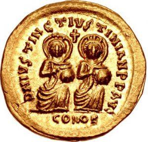 Солид Юстина І и Юстиниана І, выпущенный во время короткого периода их официального совместного правления в 527 г.