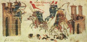 Персы осаждают Константинополь, то время как Ираклий берет штурмом персидский город. Миниатюра из болгарского перевода ХІVв. Хроники Константина Манассиии, написанной в ХІІ в. (Хранится в Библиотеке Ватикана)