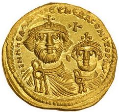 Солид Ираклия с сыном Ираклием Константином, чеканенный в 616–625 гг.