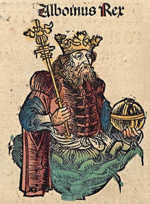 Таким увидел Альбоина иллюстратор Нюренбергской хроники (1493 г.)