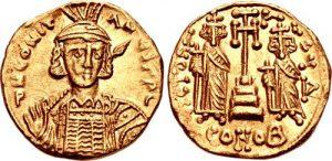 Солид Константина ІV, чеканенный в 668–673 гг. На аверсе юный император, а на реверсе – по-прежнему его братья, Тиберий и Ираклий.