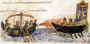 """Применение """"греческого огня"""" в морской битве. Миниатюра иллюминированной рукописи ХІІ в. """"Обозрение истории"""" Иоанна Скилицы. Хранится в Национальной библиотеке Испании."""