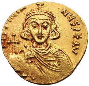 Солид Юстиниана ІІ, чеканенный в начале его первого правления (685–695).