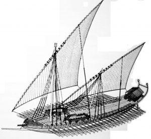 Графическая реконструкция дромона, основного класса боевых кораблей ромейского флота в раннем средневековье.