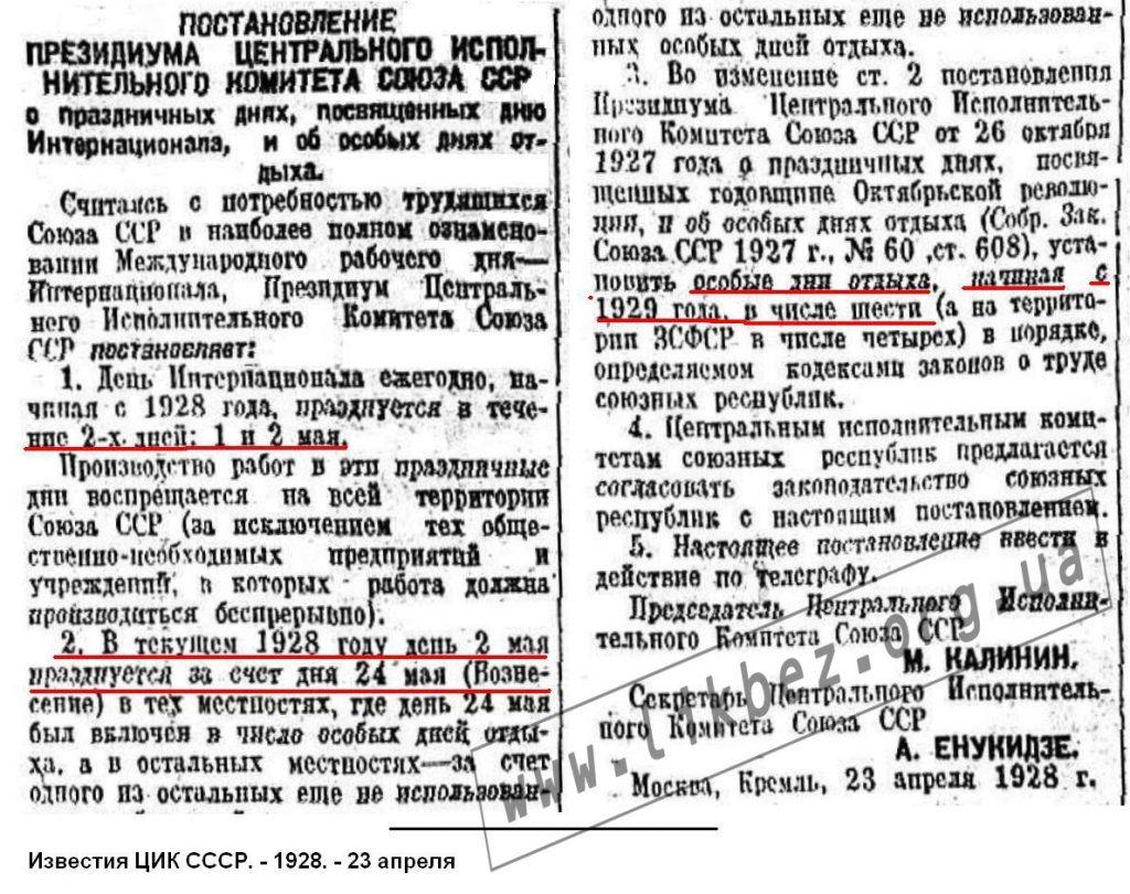 Мал.16. 1928.04.23 Постанова про свята_1