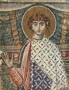 """Св. Димитрий Мозаика VII в. храма св. Димитрия в Салониках. Изначально мученик фигурировал в иконографии как """"молодой человек из приличной семьи"""" в богатых одеждах, носившихся высшей знатью."""