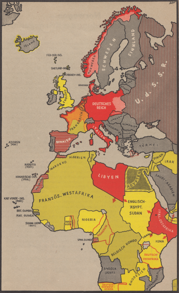 Держави Осі: від Арктики до Африки. На додаток до італійських володінь в Лівії та Ефіопії, Німеччина отримала доступ до величезних колоній переможеної Франції. Це значно більше, ніж було колись у кайзера Вільгельма (виділено контурами): Того, Камерун, Південно-Західна та Східна Африка.