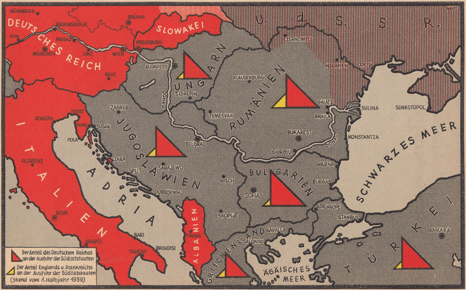 Німеччина та Південно-Східна Європа - натуральні партнери. Червоні трикутники - об'єми німецького експорту, жовті - англо-французького.
