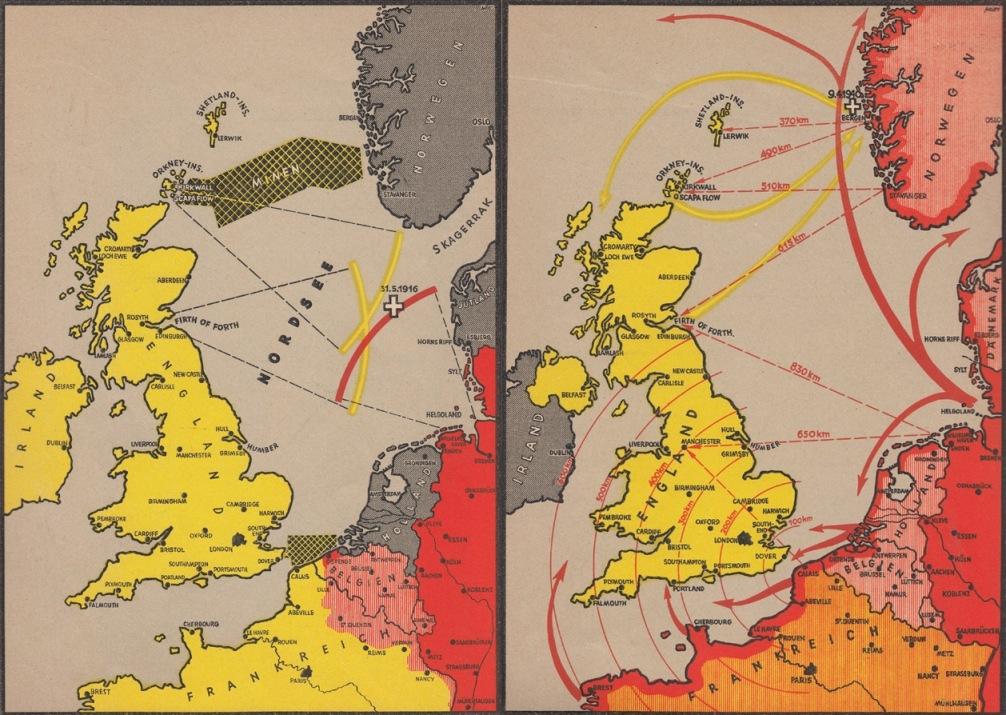 Зліва: 1914-1918, німецький флот заблоковано. Справа: 1940, Німеччина проривається до Атлантики