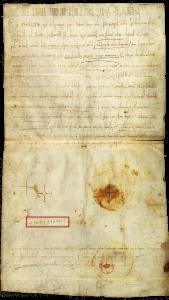 Грамота короля Филиппа І аббатству св. Крепина в Суассоне 1063 г. Кириллический автограф Анны Ярославны выделен красной рамкой