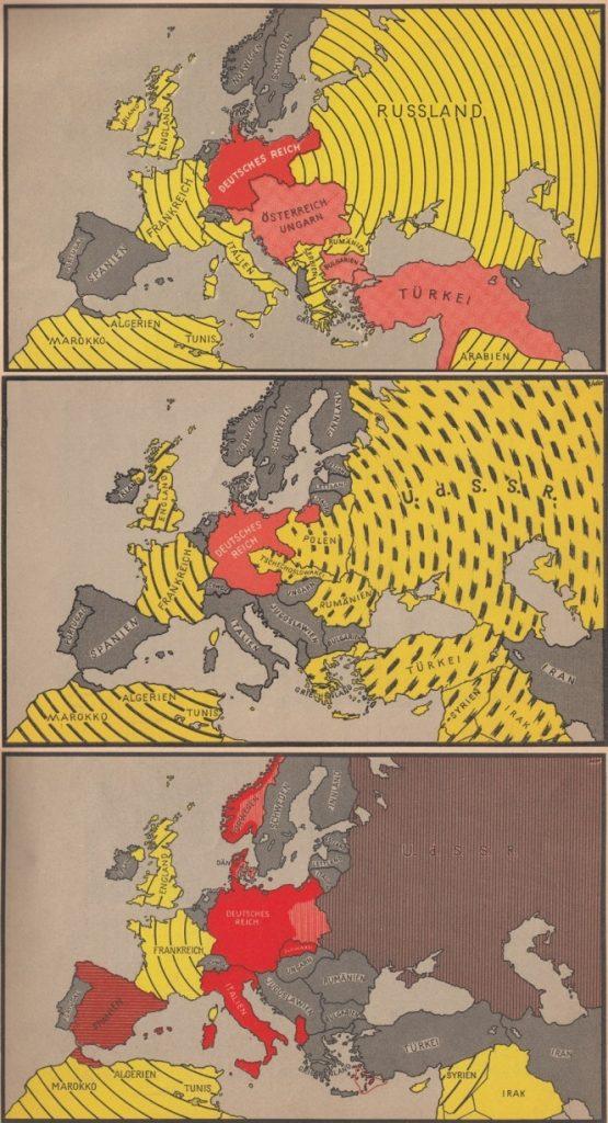 Порівняння стратегічних ситуацій. 1914-й: Центральні держави оточені Антантою. 1939-й: оточити не вийшло. 1940-й: жодних кайданів цього разу.