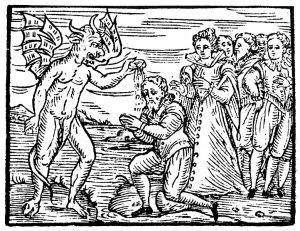 Satan rebaptizing young sorcerers
