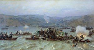 Николай Дмитриев-Оренбургский. Переправа русской армии через Дунай у Зимницы 15 июня 1877 года. 1883