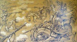 Юрій Журавель. Козаки на полях Північної війни, 2008 р. Ілюстрація до книги «Мазепа. Крок до правди» (К.: ГО «Не будь байдужим!», 2008, с.10).