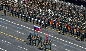 Russian servicemen attend the Victory Day Parade in Red Square in Moscow, Russia, June 24, 2020. The military parade, marking the 75th anniversary of the victory over Nazi Germany in World War Two, was scheduled for May 9 but postponed due to the outbreak of the coronavirus disease (COVID-19). Host photo agency/Evgeny Biyatov via REUTERS