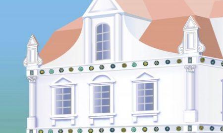 Екстер'єр мурованого палацу Мазепи на Гончарівці до 1708 р. Гіпотетична реконструкція В. Мезенцева, 2016 р.